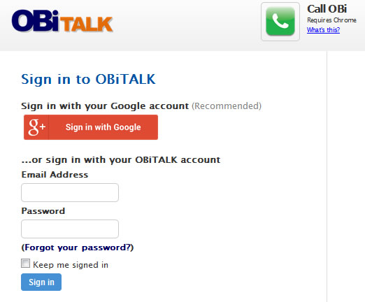Log into OBiTalk.com
