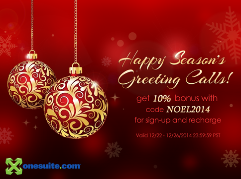 Happy Season's Greeting Calls: 10% Bonus Code