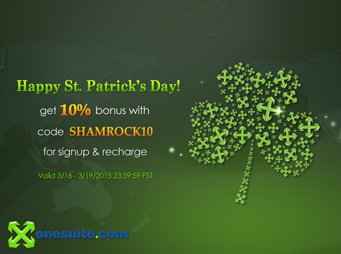 Happy St. Patrick's Day 10% Bonus